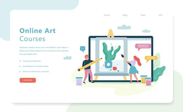 Online kunstcursussen. idee van creatieve geest en verf voor beginners. illustratie