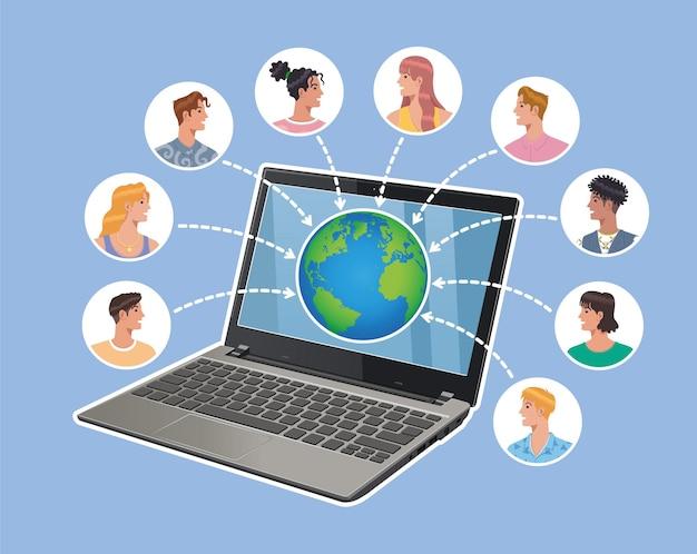 Online laptop notebook die mensen avatar over de hele wereld vector platte vectorillustratie verbindt