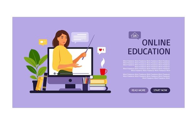 Online leerconcept. landingspagina voor online onderwijs. leraar op schoolbord, videolessen. afstandsstudie op school.