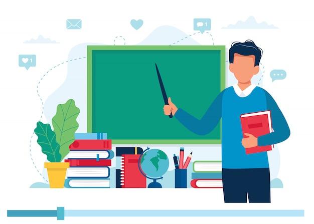 Online leerconcept. leraar met boeken en schoolbord, video les.