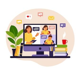 Online leerconcept. online les. leraar op schoolbord, videolessen. afstandsstudie op school. vlakke stijl.