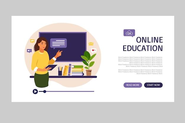 Online leerconcept van vlakke de stijlillustratie van de onderwijslandingspagina