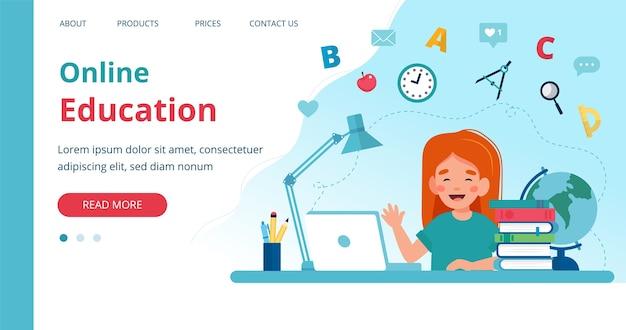 Online leersjabloon met meisje studeren