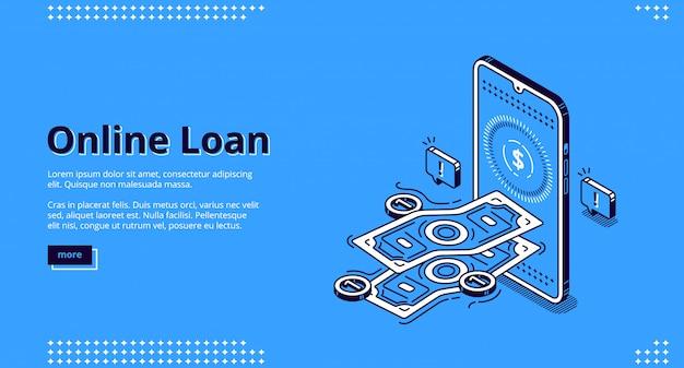 Online lening banner. financiële kredietverlening via mobiele applicatie of computer.