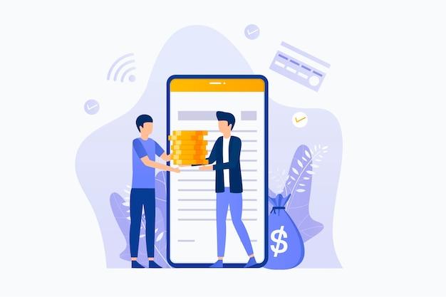 Online lening illustratie plat ontwerp. illustratie