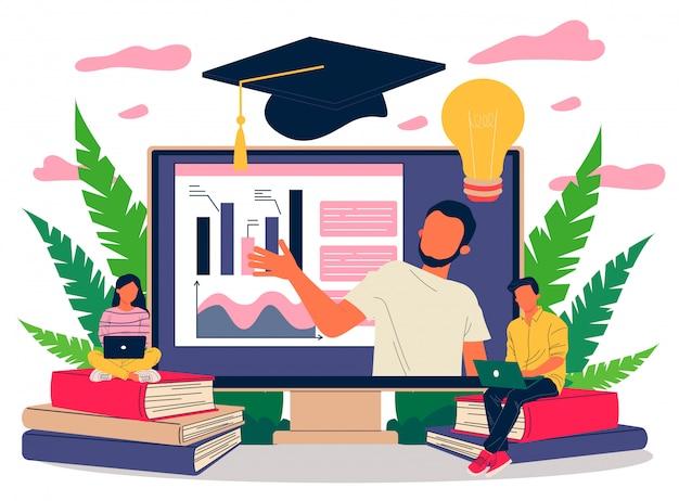 Online leraar die grafieken op monitor uitlegt