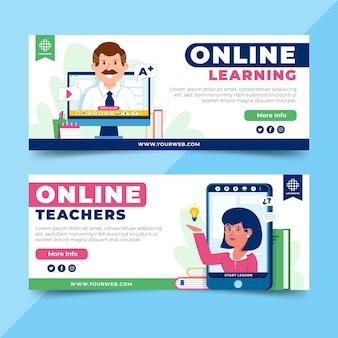 Online leren banners ontwerpen Gratis Vector