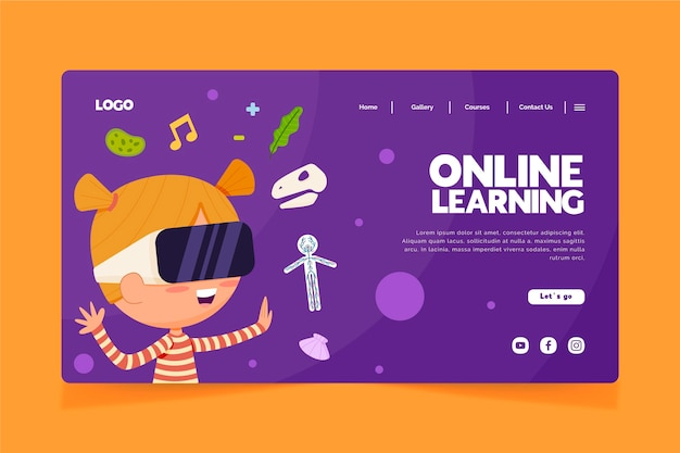 Online leren bestemmingspagina hand getekend