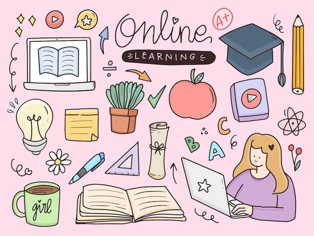 Online leren doodle tekening illustratie sticker set