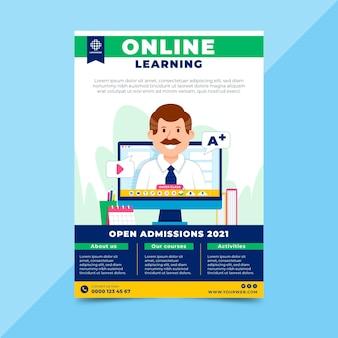 Online leren flyer-sjabloon Gratis Vector