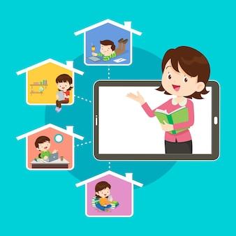 Online leren kinderen. online leraar op computermonitor. kinderen studeren thuis via internet.