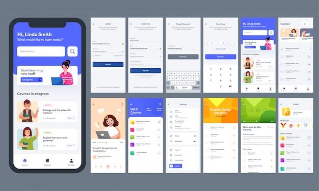 Online leren mobiele app ui-kit met verschillende gui-lay-out, inclusief inloggen, account aanmaken, cursusinformatiescherm.