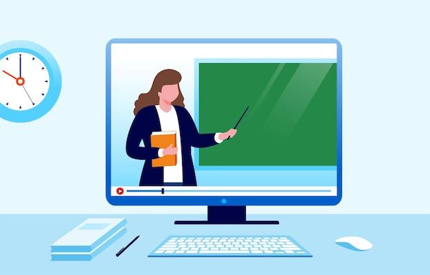 Online leren of onderwijs platte vectorillustratie voor banner en bestemmingspagina