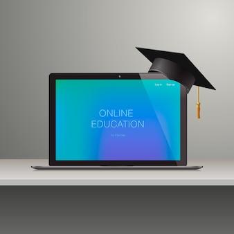 Online leren, online onderwijs, leer concept, illustratie