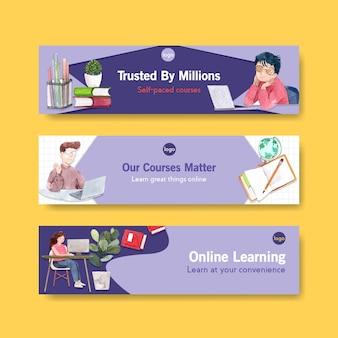 Online leren sjabloonontwerp voor website spandoek, adverteren aquarel
