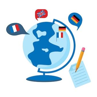 Online leren van vreemde talen. concept van taalcursussen, examenvoorbereiding, thuisonderwijs. platte vectorillustratie geïsoleerd op een witte achtergrond