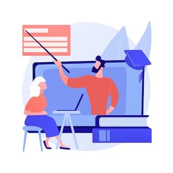 Online leren voor senioren abstract concept vectorillustratie. online cursussen voor senioren, aanvullend onderwijs, gratis online programma, leergemeenschap, online quizz abstracte metafoor.