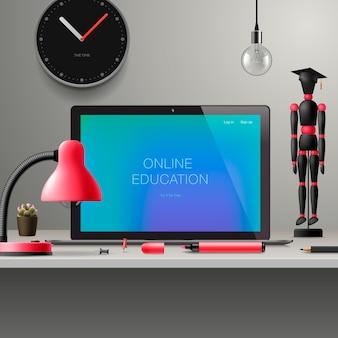 Online leren, webinar, online onderwijs, bedrijfstraining, kennisexpertise intelligentie leren concept, illustratie.