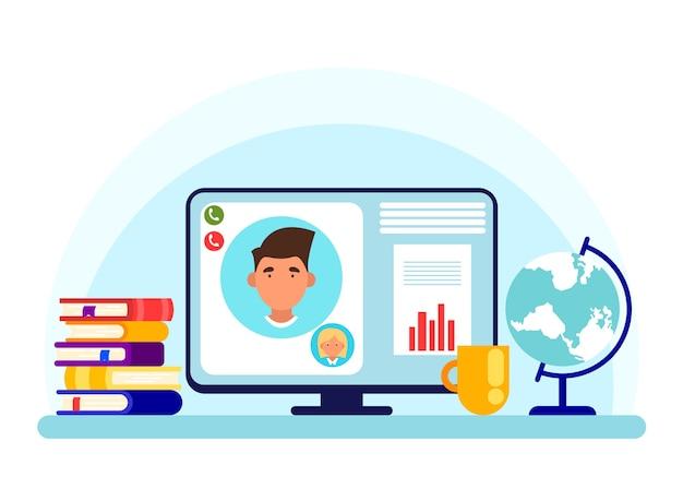 Online les op een computerscherm in vlakke stijl