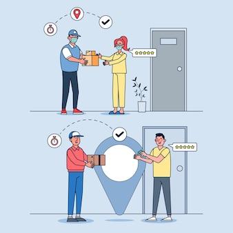 Online levering, bestelservice en bezorgservice illustratieset