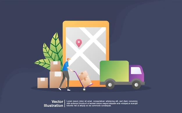 Online levering dienstverleningsconcept. online bestelling volgen