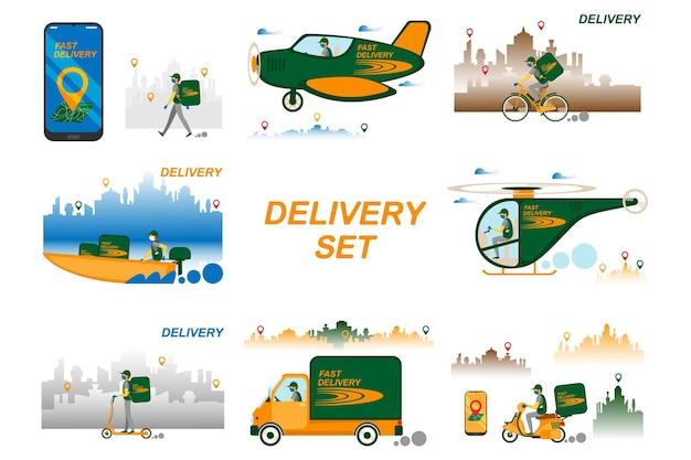Online levering serviceconcept set, online bestelling volgen, levering aan huis en op kantoor. magazijn, vrachtwagen, vliegtuig, boot, helikopter, scooter en fietskoerier, bezorger met ademhalingsmasker. vector.