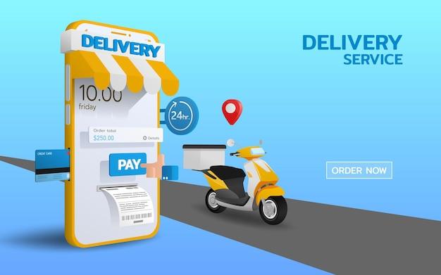 Online logistieke 24-uurs betalings- en bezorgservice op smartphone. geleverd per scooterfiets, snel, veilig en gemak bieden aan klanten die gebruik maken van de service.