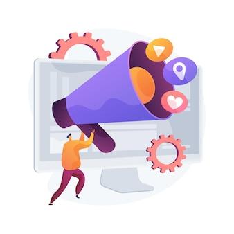 Online marketing abstract concept vectorillustratie. digitale marketing, online verkoop, strategie voor sociale media, seo-optimalisatie, e-commerce, bureauservice, abstracte metafoor voor internetreclame.