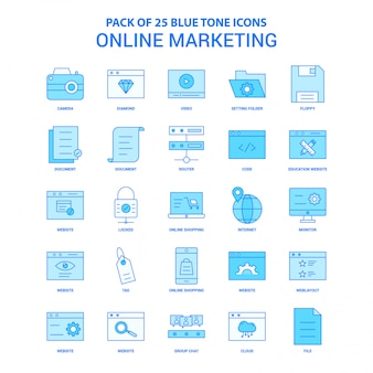 Online marketing blue tone icon pack