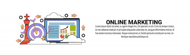 Online marketing business concept horizontale webbanner sjabloon