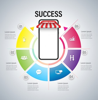 Online marketing concept met smartphone voor succes