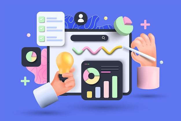 Online marketing, financiële rapportgrafiek, gegevensanalyse en webontwikkelingsconcept. tablet met gegevensgrafiek. 3d vectorillustratie