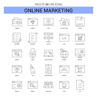 Online marketing lijn icon set - 25 stippellijn overzichtsstijl