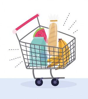 Online markt, koop producten in winkelwagen, bezorging van eten in de supermarkt