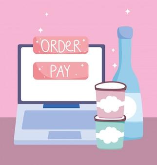 Online markt, laptop bestelling betalen knop eten bezorgen in de supermarkt