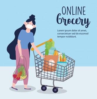 Online markt, meisje met masker winkelwagen en milieuvriendelijke tas, eten bezorgen in de supermarkt