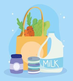 Online markt, melkzak wortelsla, voedselbezorging in de supermarkt