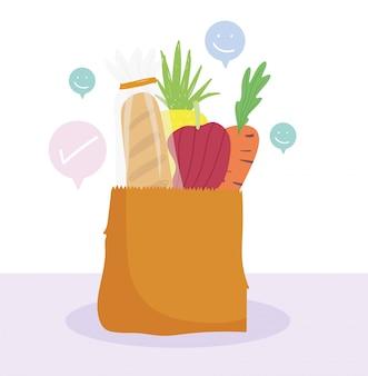 Online markt, papieren zak met wortel brood peper voedsel kruidenier winkel levering aan huis illustratie