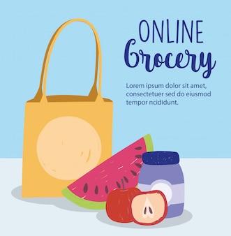 Online markt, papieren zak watermeloen appelproduct, voedselbezorging in supermarkt illustratie