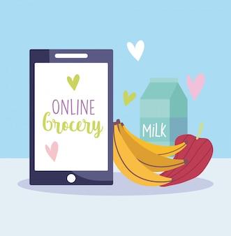 Online markt, smartphone banaan peper en melk, levensmiddelenwinkel thuisbezorgd