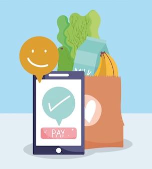 Online markt, smartphone betaling papieren zak eten bezorgen in de supermarkt