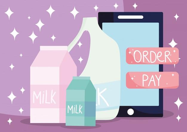 Online markt, smartphone melkdozen en fles, eten bezorgen in de supermarkt
