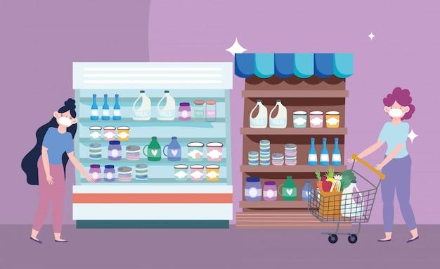 Online markt, vrouw en meisje met winkelwagentje supermarkt, levering van levensmiddelen in de supermarkt illustratie