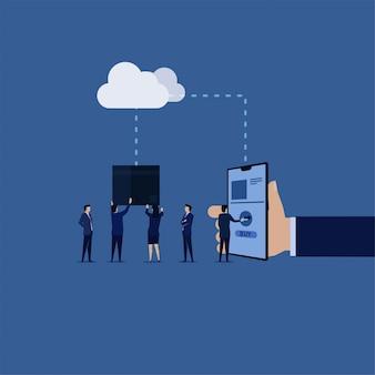Online markt. zakenman koopt dingen online uit cloud-spullen komen naar beneden.