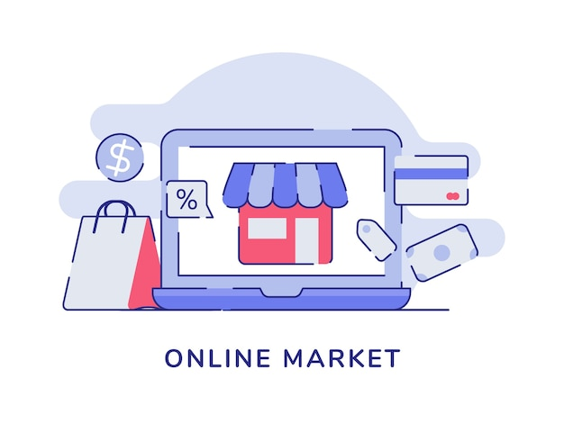 Online marktconceptwinkel tentoongesteld laptop scherm papieren zak kaart bankgeld valuta