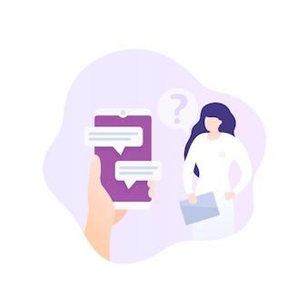 Online medisch consult, chat met arts, vector