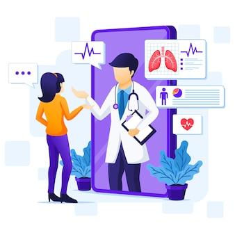 Online medisch consult concept, online gezondheidszorg hulp illustratie