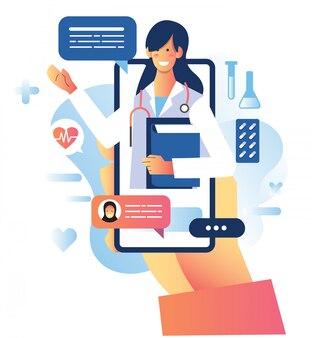 Online medisch consult met vrouwelijke arts voor gezondheidstoepassingen