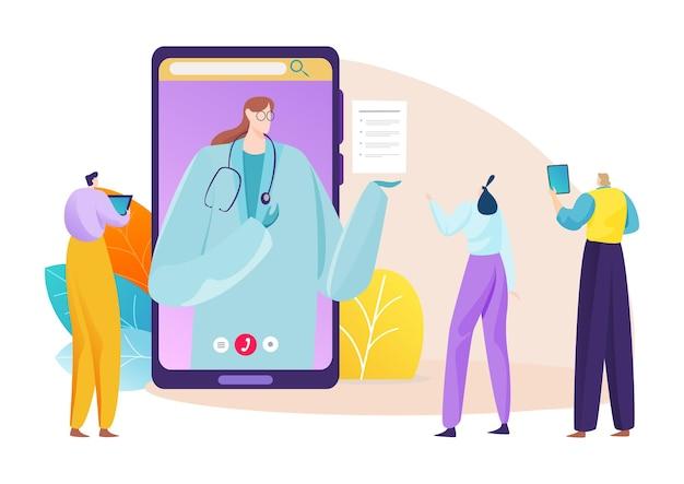 Online medisch consult voor mensen illustratie
