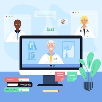 Online medische conferentie vlakke afbeelding